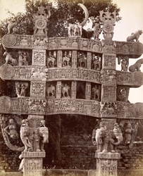Rear [sic, read front] view of northern gate of Sanchi Tope